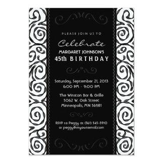 Geburtstag laden - eleganten schwarzen u. weißen 12,7 x 17,8 cm einladungskarte