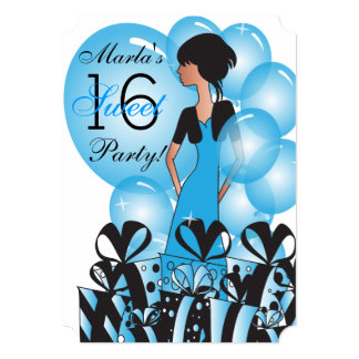 Geburtstag oder Bachelorette Mädchen im Blau 12,7 X 17,8 Cm Einladungskarte