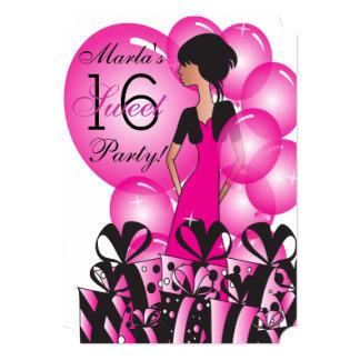 Geburtstag oder Bachelorette Mädchen in einem Pink 12,7 X 17,8 Cm Einladungskarte