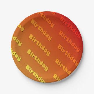 Geburtstag (orange) pappteller 17,8 cm