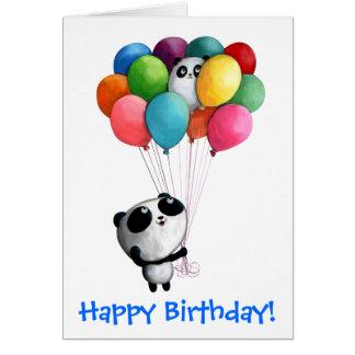 Geburtstag steigt Panda-Bären im Ballon auf Grußkarte