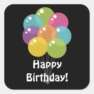Geburtstag steigt UnisexPartyaufkleber im Ballon Quadratischer Aufkleber