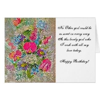 Geburtstag zu einem Mädchen mit Blumen Grußkarte