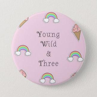 Geburtstags-Abzeichen für 3-Jährige Runder Button 7,6 Cm