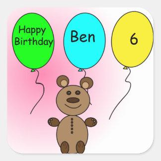 Geburtstags-Ballon-Bär Quadratischer Aufkleber