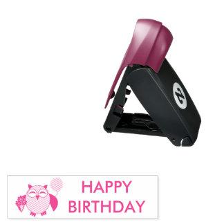 Geburtstags-Eulen-personalisierte Taschenstempel