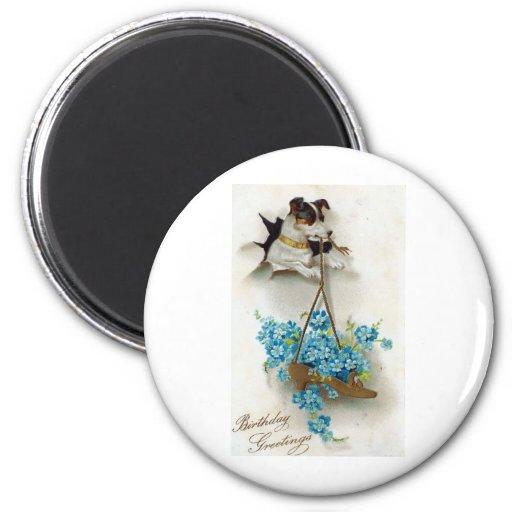 Geburtstags-Grüße niedlicher Hund und Schuh Vintag Magnete
