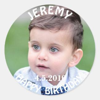 Geburtstags-Jungen-Foto-Aufkleber Runder Aufkleber