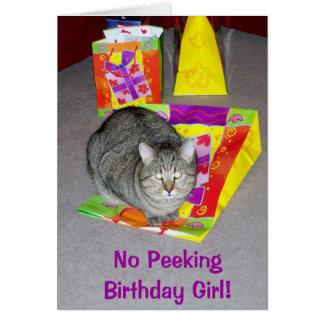 Geburtstags-Karte für Katzen-Liebhaber - Mädchen Grußkarte