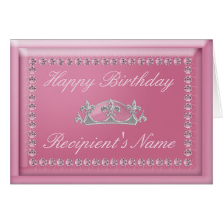 Geburtstags-Karte in den rosa Diamanten und in Grußkarte