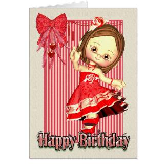 Geburtstags-Karte - kleines Mädchen-Tanzen - rote