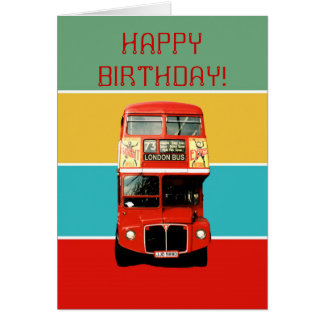 Geburtstags-Karte mit London-Bus Karte