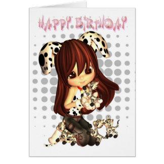 Geburtstags-Karte mit niedlichem kleinem Mädchen