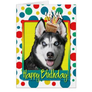 Geburtstags-kleiner Kuchen - sibirischer Husky Karte