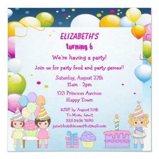 Geburtstags-Kuchen-u. des Ballon-Mädchens Party lä Individuelle Einladungskarte