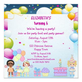Geburtstags-Kuchen-u. des Ballon-Mädchens Party lä Personalisierte Einladungskarten
