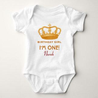 Geburtstags-Mädchen-Prinzessin Crown ein jähriges Babybody