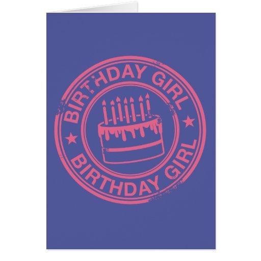 Geburtstags-Mädchen - rosa GummiBriefmarkeneffekt Grußkarte