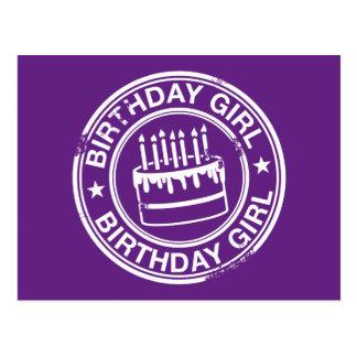 Geburtstags-Mädchener-weiß GummiBriefmarkeneffekt Postkarte