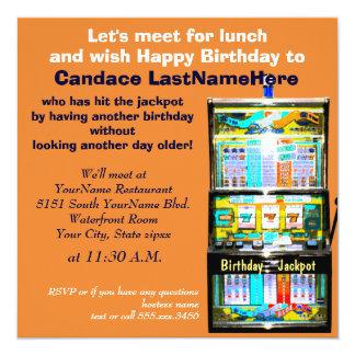 Geburtstags-Mittagessen-Spielautomat-Jackpot Quadratische 13,3 Cm Einladungskarte