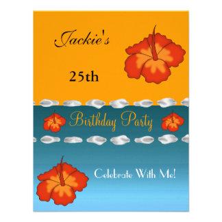 Geburtstags-Party-Blumensommer-weißes blaues Gelb Individuelle Einladung