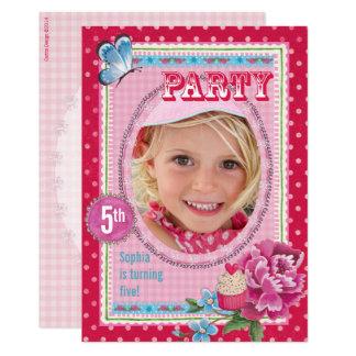 Geburtstags-Party Einladungs-Mädchen-Foto 12,7 X 17,8 Cm Einladungskarte