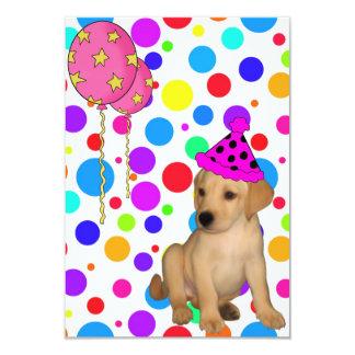 Geburtstags-Party-Labrador-Welpe beschmutzt 8,9 X 12,7 Cm Einladungskarte