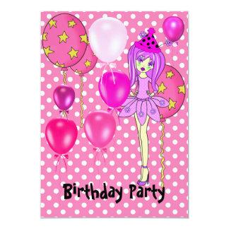 Geburtstags-Party-Mädchen-Rosa-Ballone Personalisierte Einladungskarten