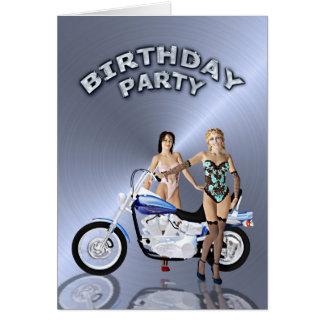 Geburtstags-Party mit einem Mädchen und einem Grußkarte