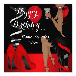 Geburtstags-Party-roter schwarzer Schuh-hoher Karte