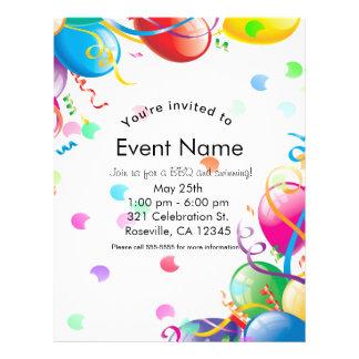 Geburtstags-Party steigt Confetti-Ereignis-Flyer Flyer