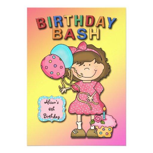 Geburtstags-Schlag-Mädchen-Geburtstags-Party Individuelle Einladungskarten