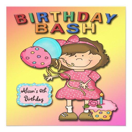 Geburtstags-Schlag-Mädchen-Geburtstags-Party Individuelle Ankündigung