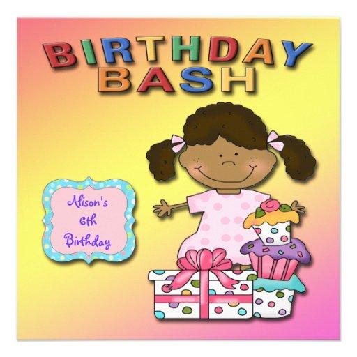 Geburtstags-Schlag-Mädchen-Geburtstags-Party Individuelle Einladungen