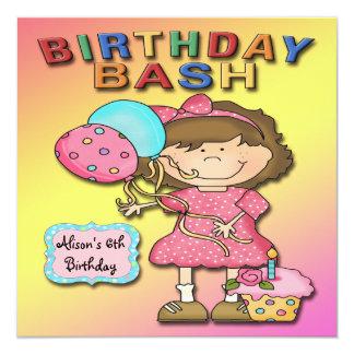 Geburtstags-Schlag-Mädchen-Geburtstags-Party Quadratische 13,3 Cm Einladungskarte