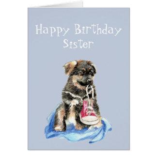 Geburtstags-Schwester-Läufer-Welpen-Laufschuh-Hund Karte