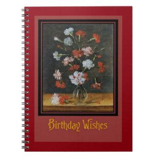 Geburtstags-Wünsche - Gartennelken in einem Spiral Notizblock