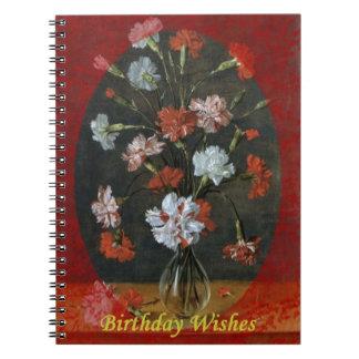 Geburtstags-Wünsche - Gartennelken mit ovalem Berg Spiral Notizblock