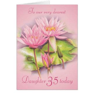 Geburtstagskarte der rosa mit Blumentochter der Grußkarte