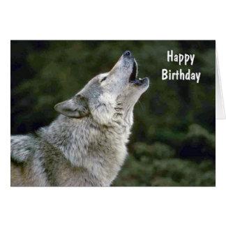 Geburtstagskarte des grauen Wolfs Heulens schöne Karte