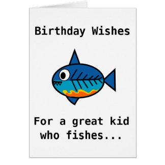 Geburtstagskarte für ein großes Kind, das fischt Grußkarte