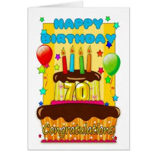 Geburtstagskuchen mit Kerzen - glücklicher 70. Karte