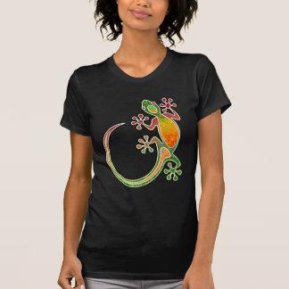 Gecko-Stammes- mit Blumenkunst T-Shirt