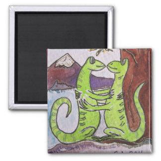 Geckos, die lustigen Magneten küssen Quadratischer Magnet