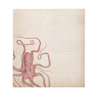 Gedämpfte SeeRosen-Rosa Steampunk Kraken-Natur Notizblock