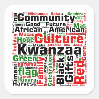 Gedanken-Kwanzaa-Feiertags-Aufkleber Quadratischer Aufkleber