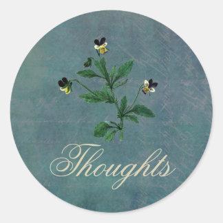 Gedanken von Ihnen mit botanischen Viola Runder Aufkleber