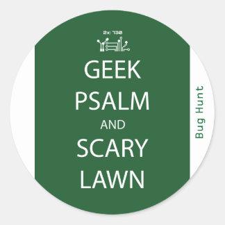 Geek-Psalm und beängstigender Rasen-Aufkleber Runder Aufkleber