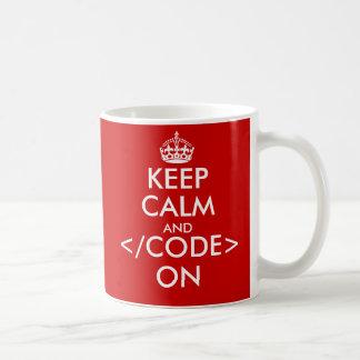 Geeky behalten Sie Ruhe und Code auf Tasse für