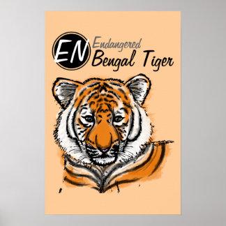Gefährdetes   bengalisches Plakat Tiger- 